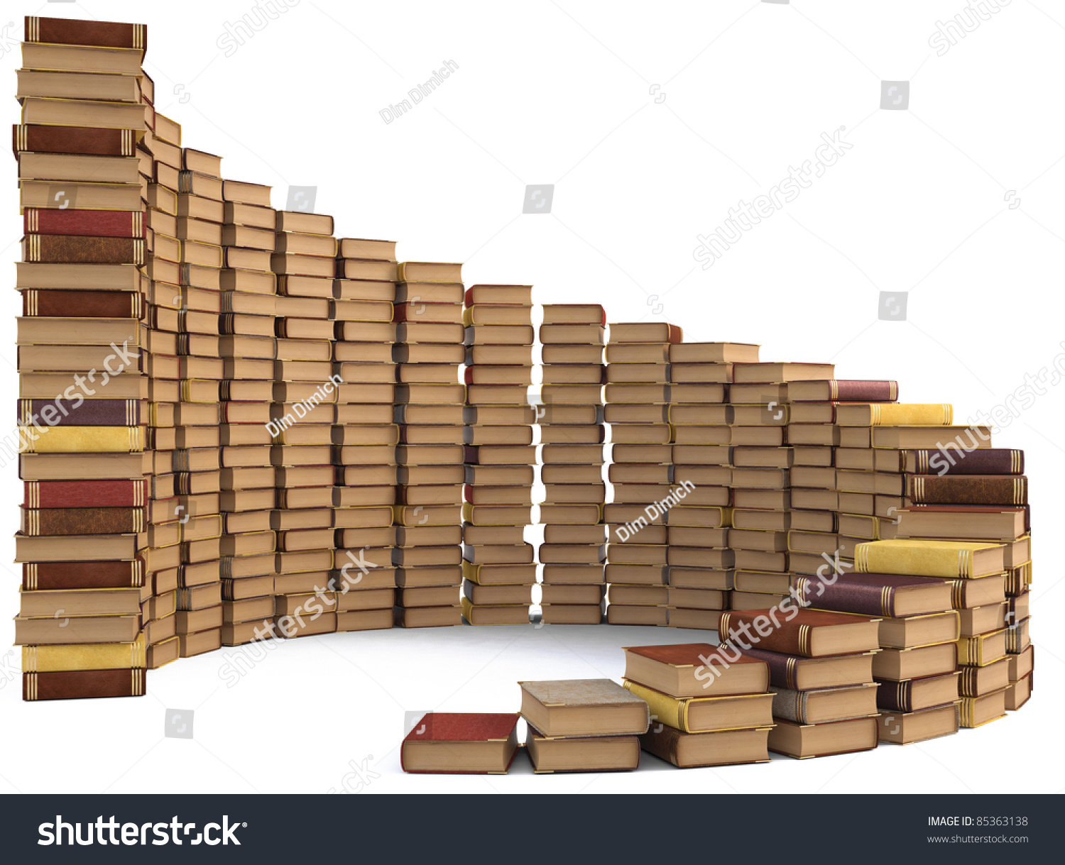 Stacks Books Form Spiral Staircase Isolated Stock Illustration