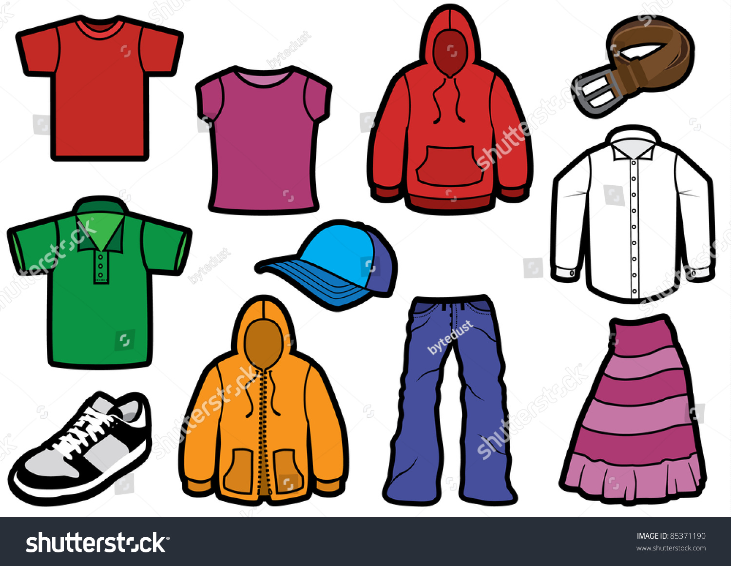 Vector Illustration Eleven Different Clothes Bold Stock ...