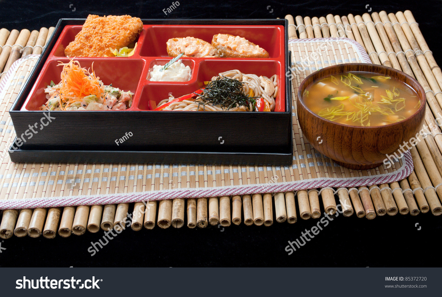 japanese bento lunch box of fast food stock photo 85372720 shutterstock. Black Bedroom Furniture Sets. Home Design Ideas