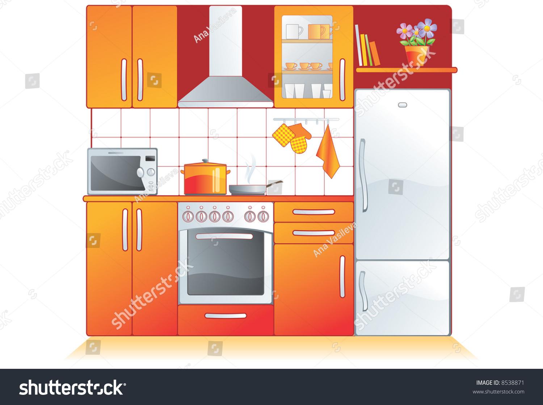 Kitchen Furnishing Kitchen Furnishing Appliances Cupboard Builtin Oven Stock Vector