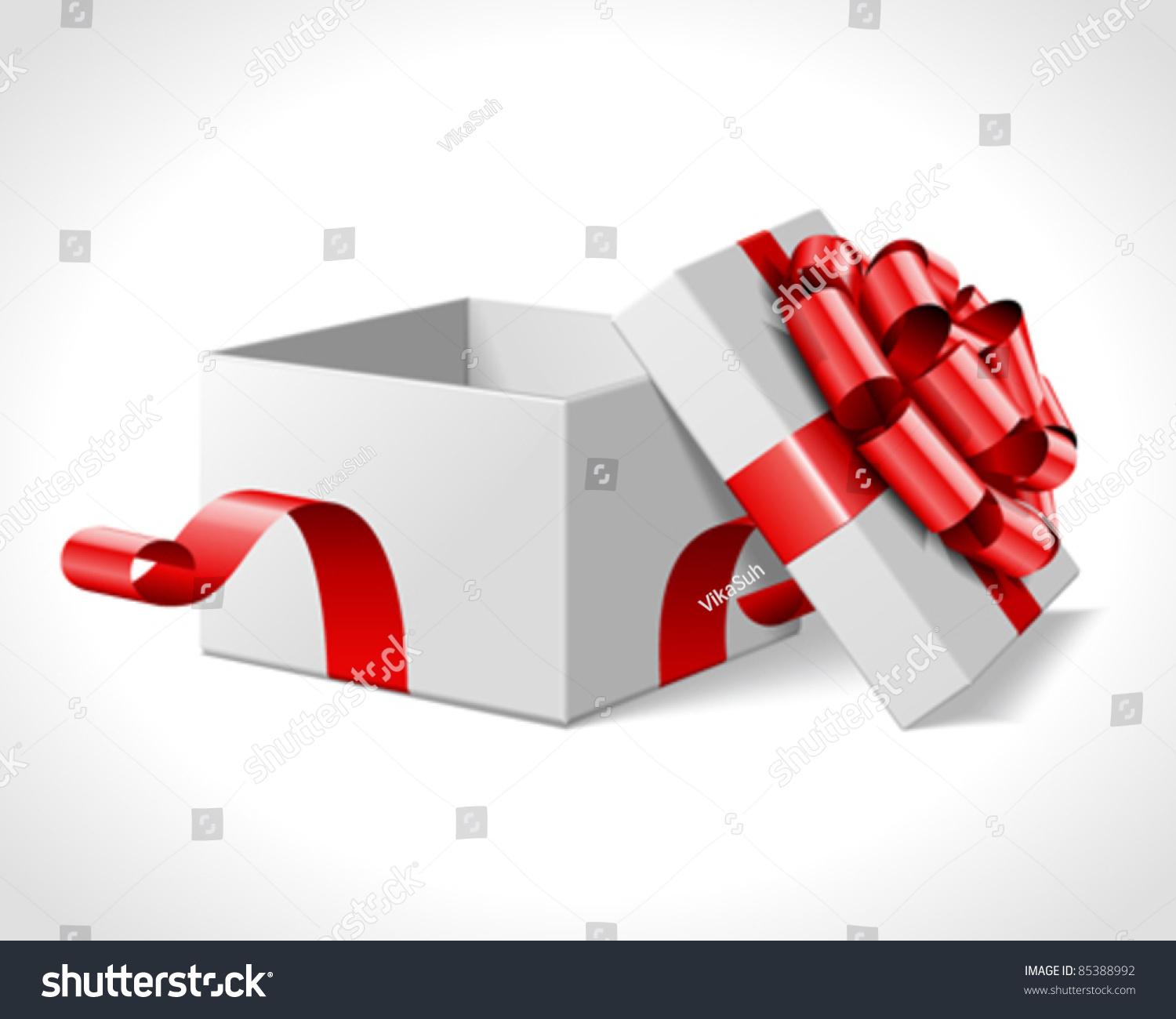 Open Gift Box Red Bow Isolated Stock Vector 85388992