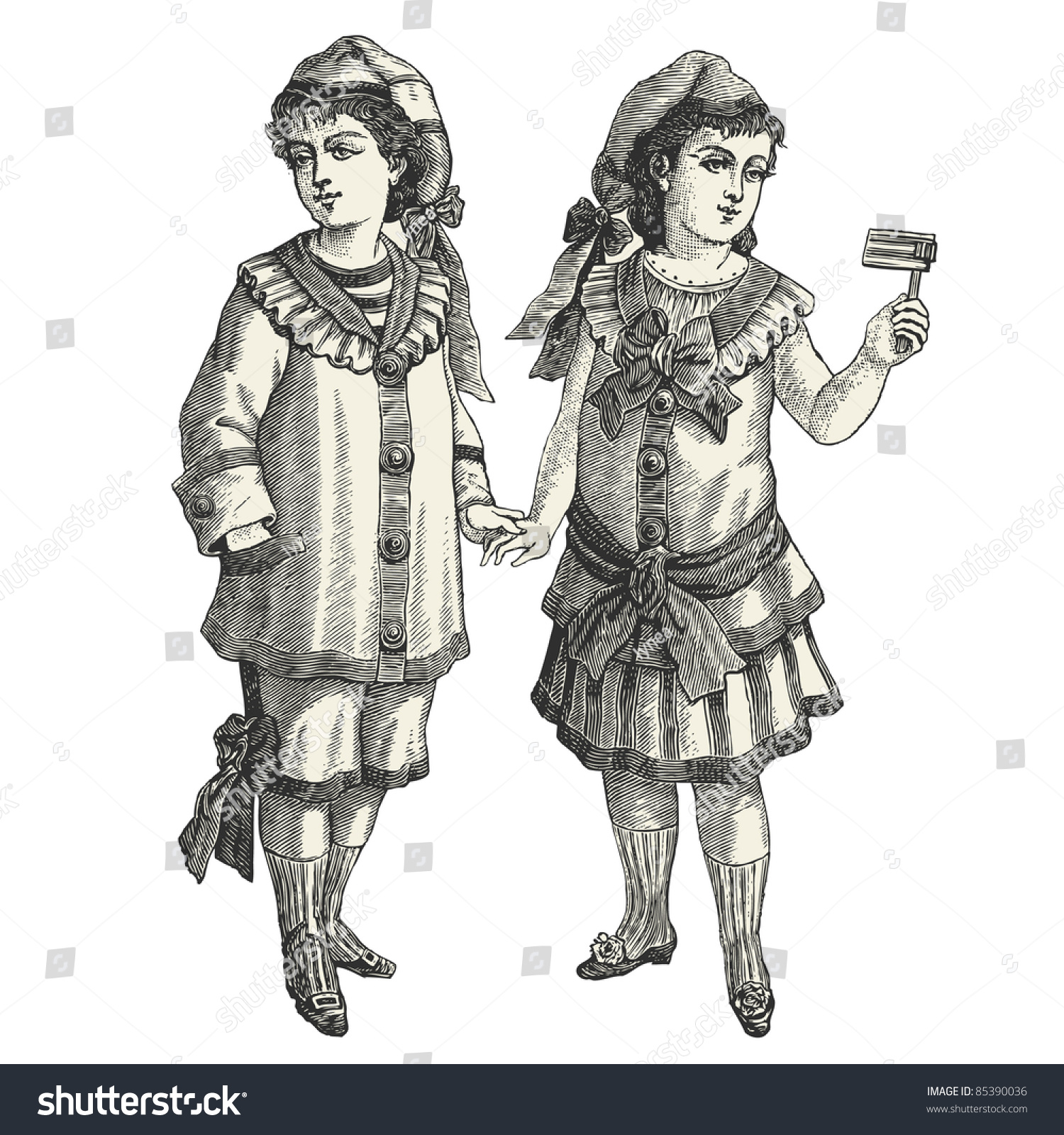 Brother & sister - vintage engraved illustration -