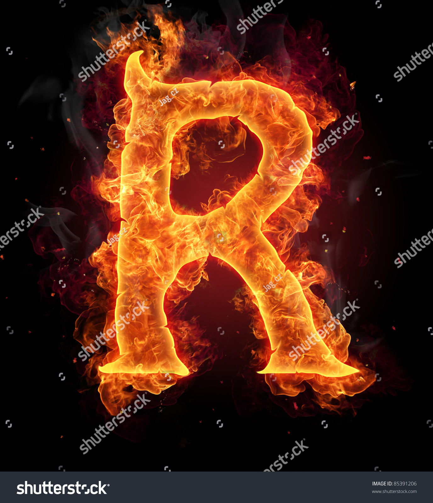 Fire Burning Letter R Stock Photo Edit Now 85391206
