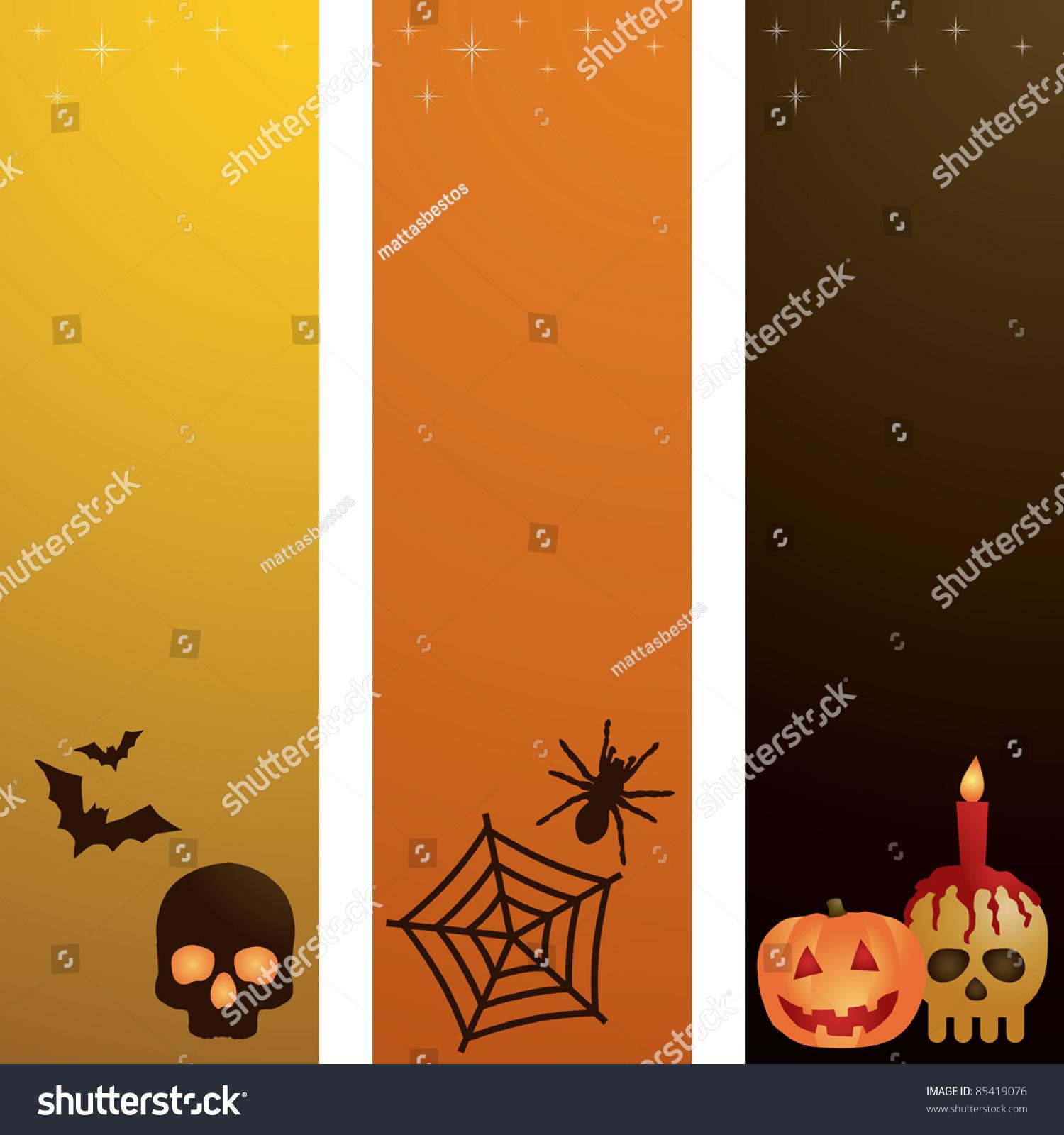 Vertical Yellow Orange Black Halloween Banners Stock Vector ...