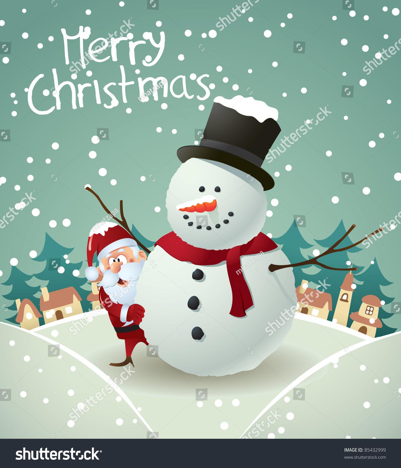 Santa And Snowman Christmas Card Stock Vector Illustration 85432999 : Shutter...