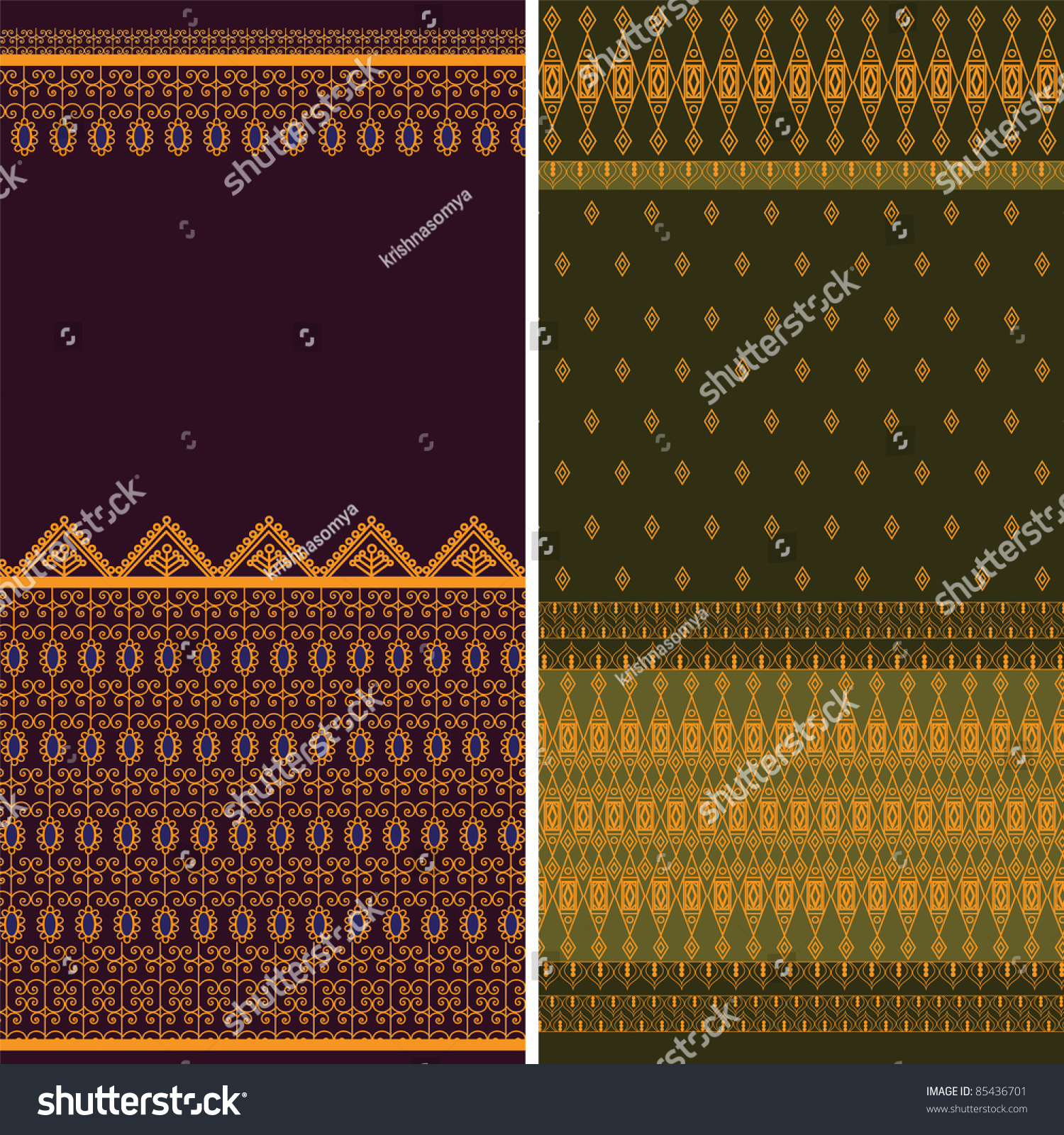 Indian Sari Borders detailed and easily editable