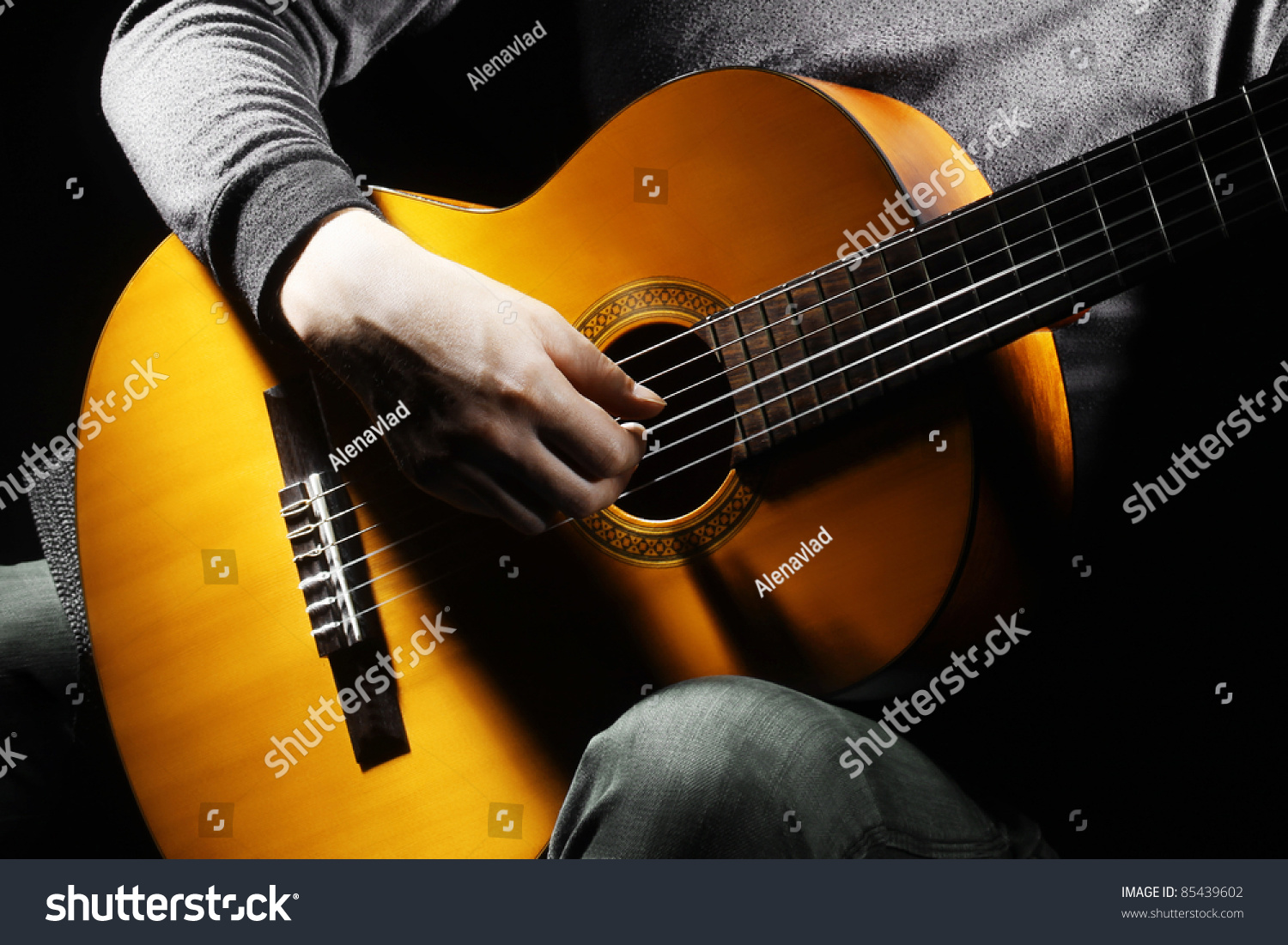 Acoustic Guitar Guitarist Playing Details Musical Stock ...