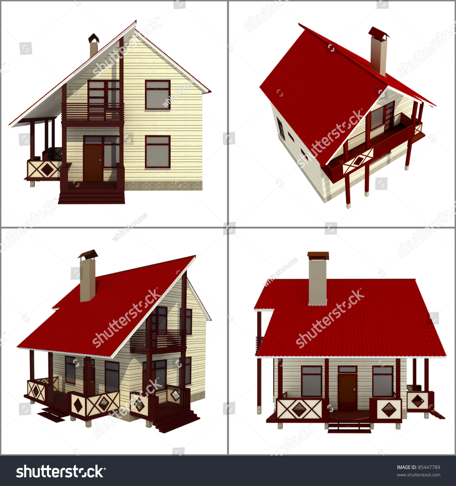 Different Views One House Stock Illustration Royalty Free Stock