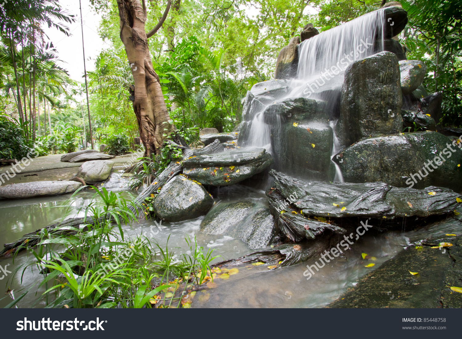 Small Waterfall In The Home Garden Stock Photo 85448758 Shutterstock