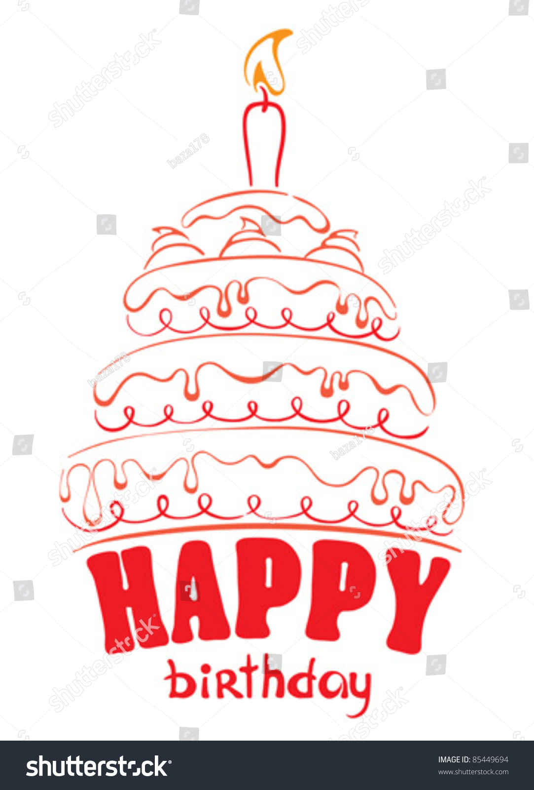 Cake - Happy Birthday Stock Vector Illustration 85449694 ...