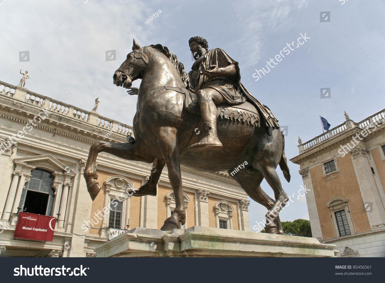 Equestrian Statue Marcus Aurelius On Piazza Stock Photo