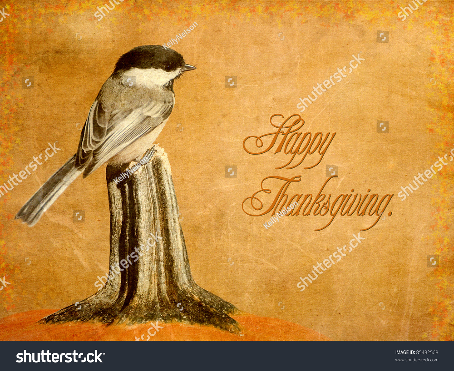 Vintage Thanksgiving Card Featuring An Adorable Chickadee Perched On A Pumpkin With Autumn Leaf Border