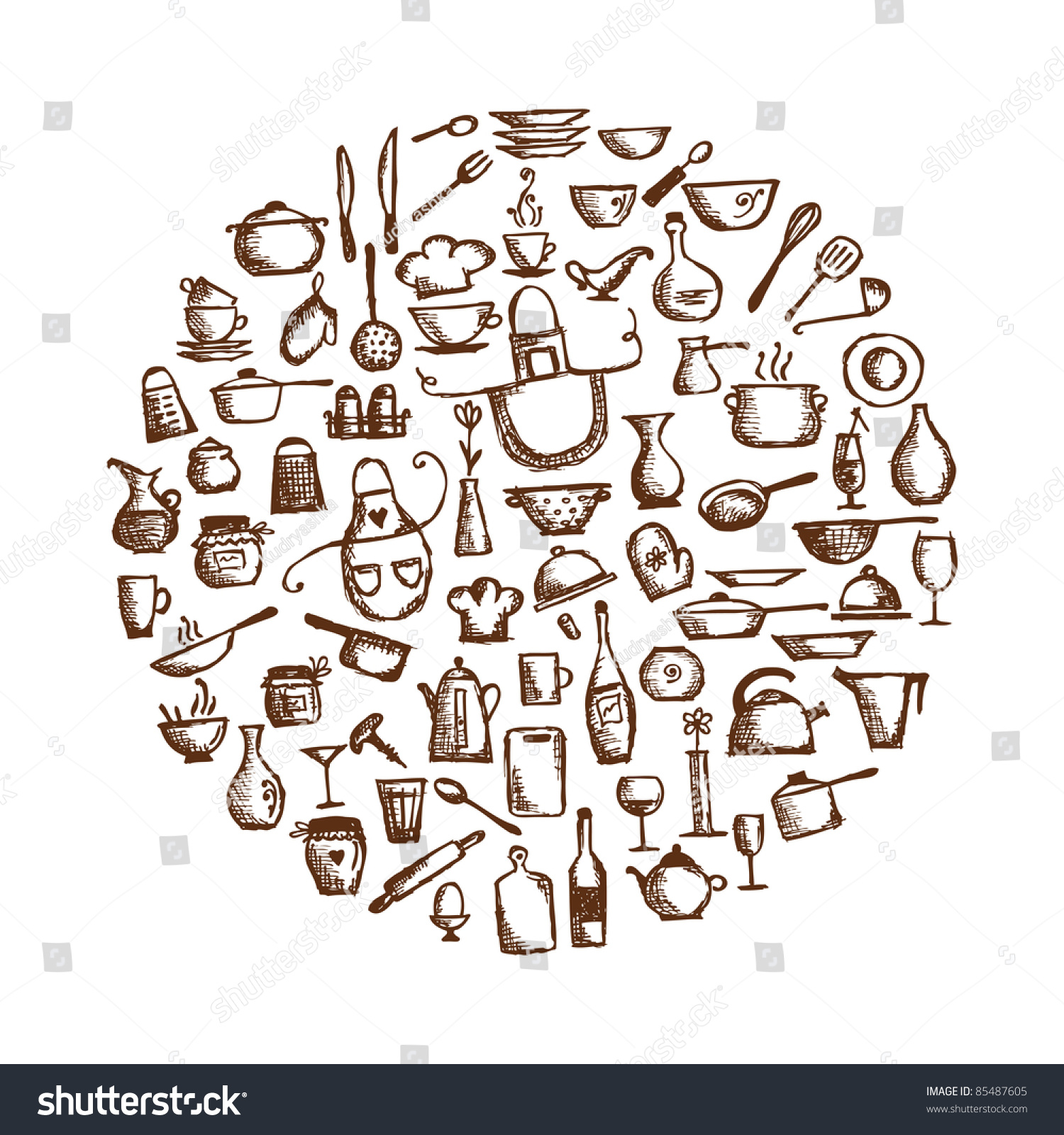 kitchen utensils drwing crowdbuild for kitchen utensils sketch drawing for your design stock vector