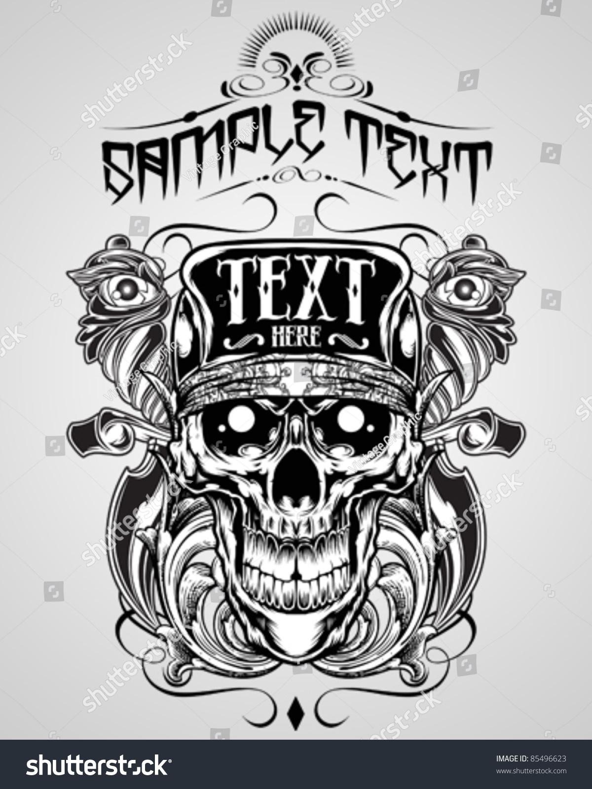 T shirt design vectors - Vector Illustration Skull T Shirt Design Logos
