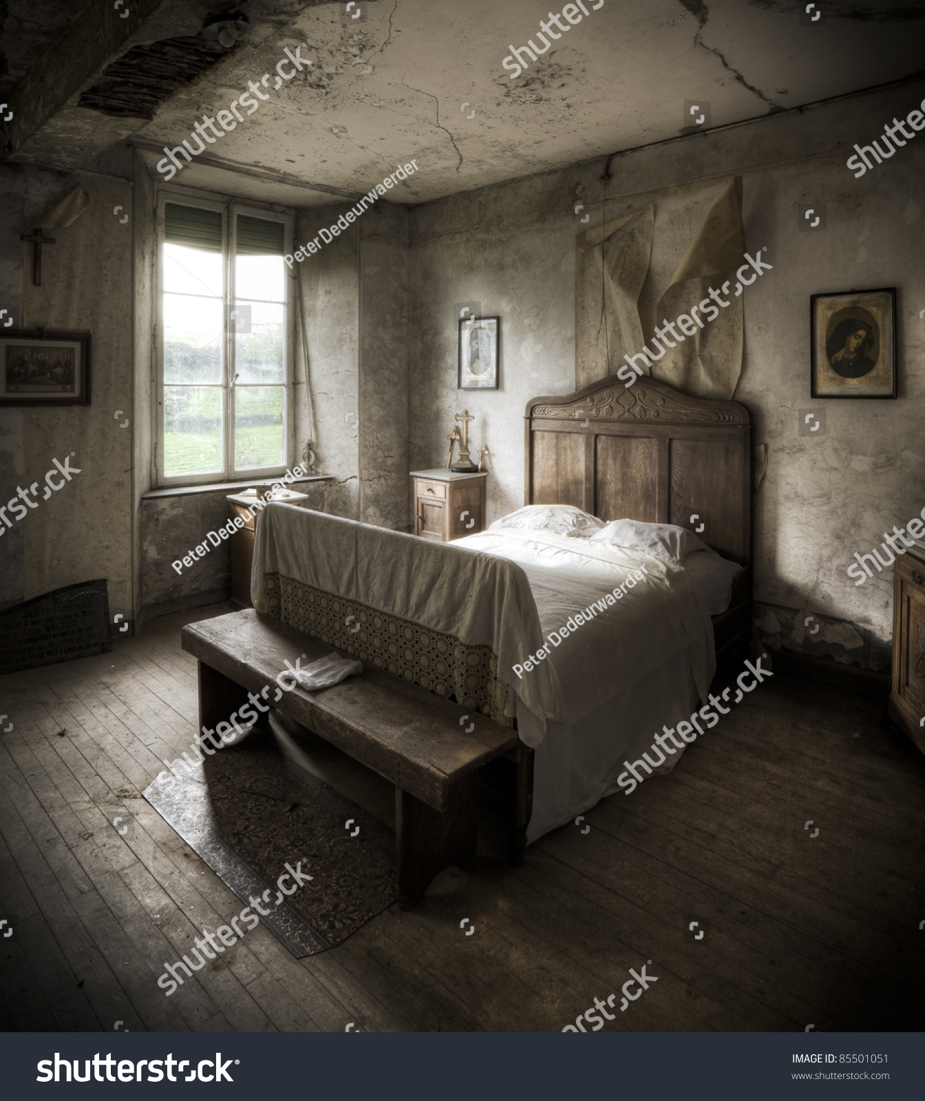 Creepy Bedroom Scenery Cracked Walls Wooden Stock Photo