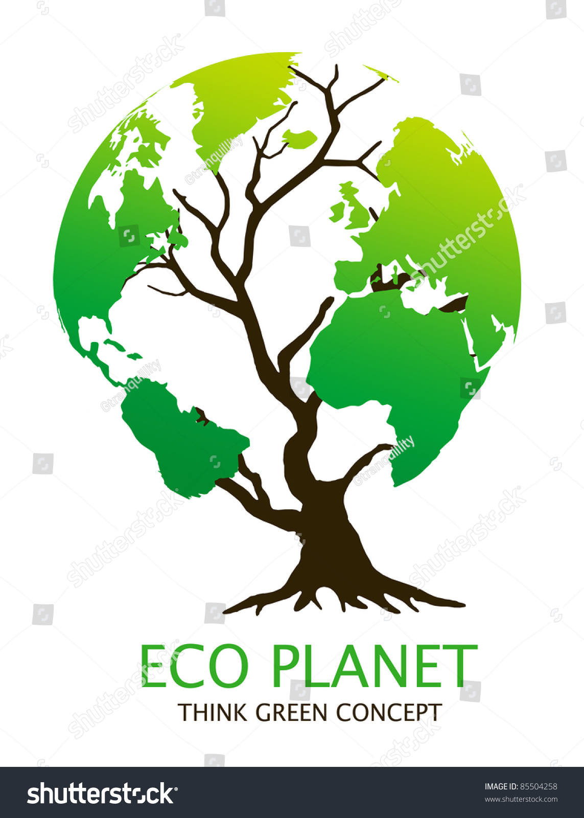 ecofriendly earth tree illustration green environment stock illustration 85504258 shutterstock. Black Bedroom Furniture Sets. Home Design Ideas