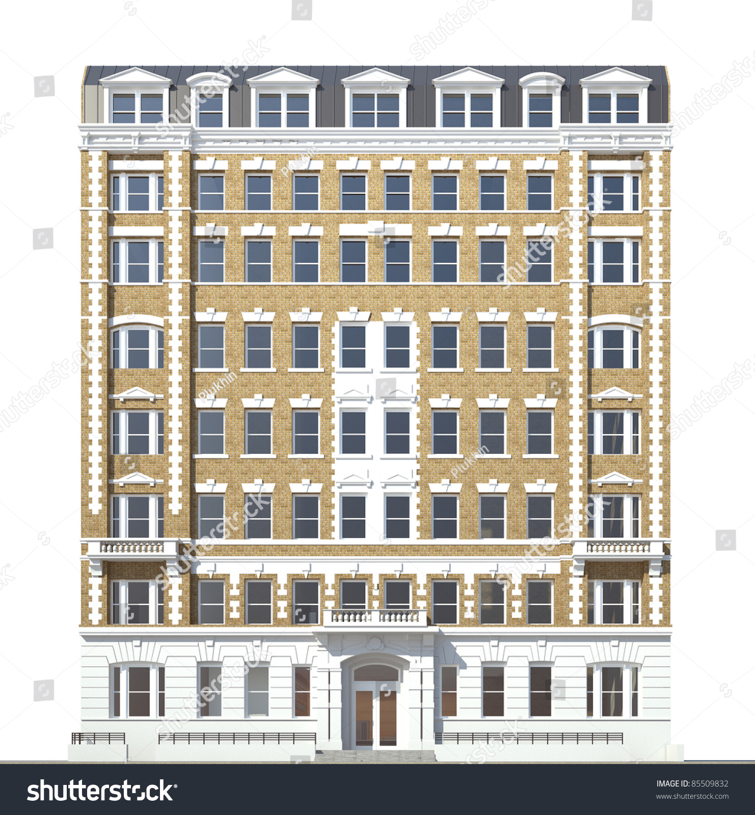 Front Elevation Of Hotel Building : Building viewed front elevation on white stock