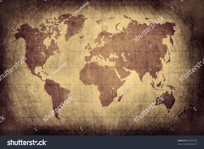 Grunge World Map Latitude Longitude Lines Stock Illustration - Usa map with latitude and longitude lines