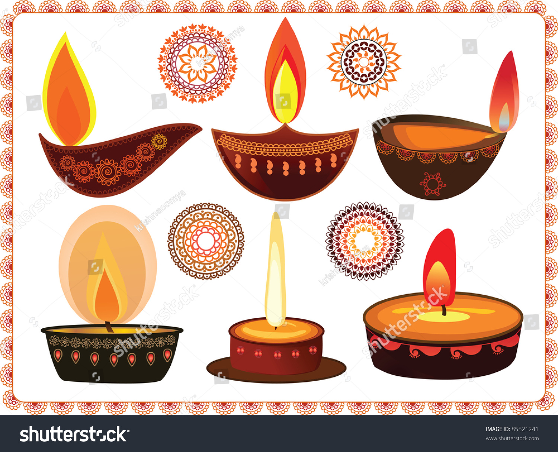 Vector Diwali Oil Lamps Mandala Design Stock Vector 85521241 ... for Earthen Lamp Clipart  242xkb