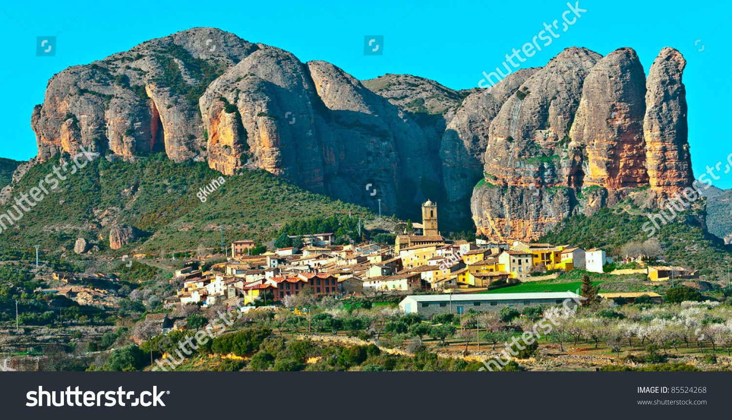 Rocks In Spanish Part - 41: Spanish Medieval Village At The Foot Of The Rocks In The Pyrenees