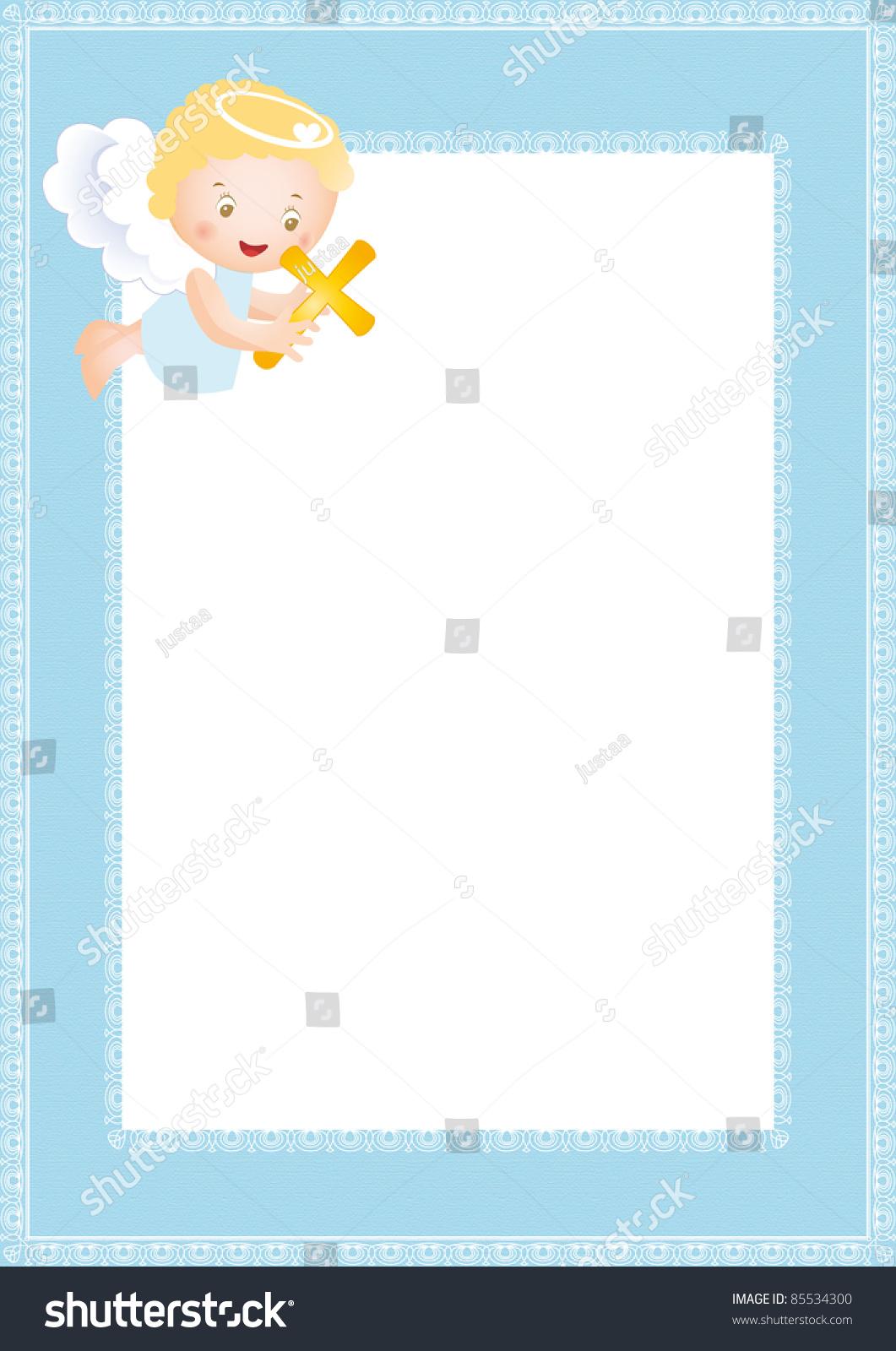 Baby Baptism Frame Small Angel Stock Illustration 85534300 ...