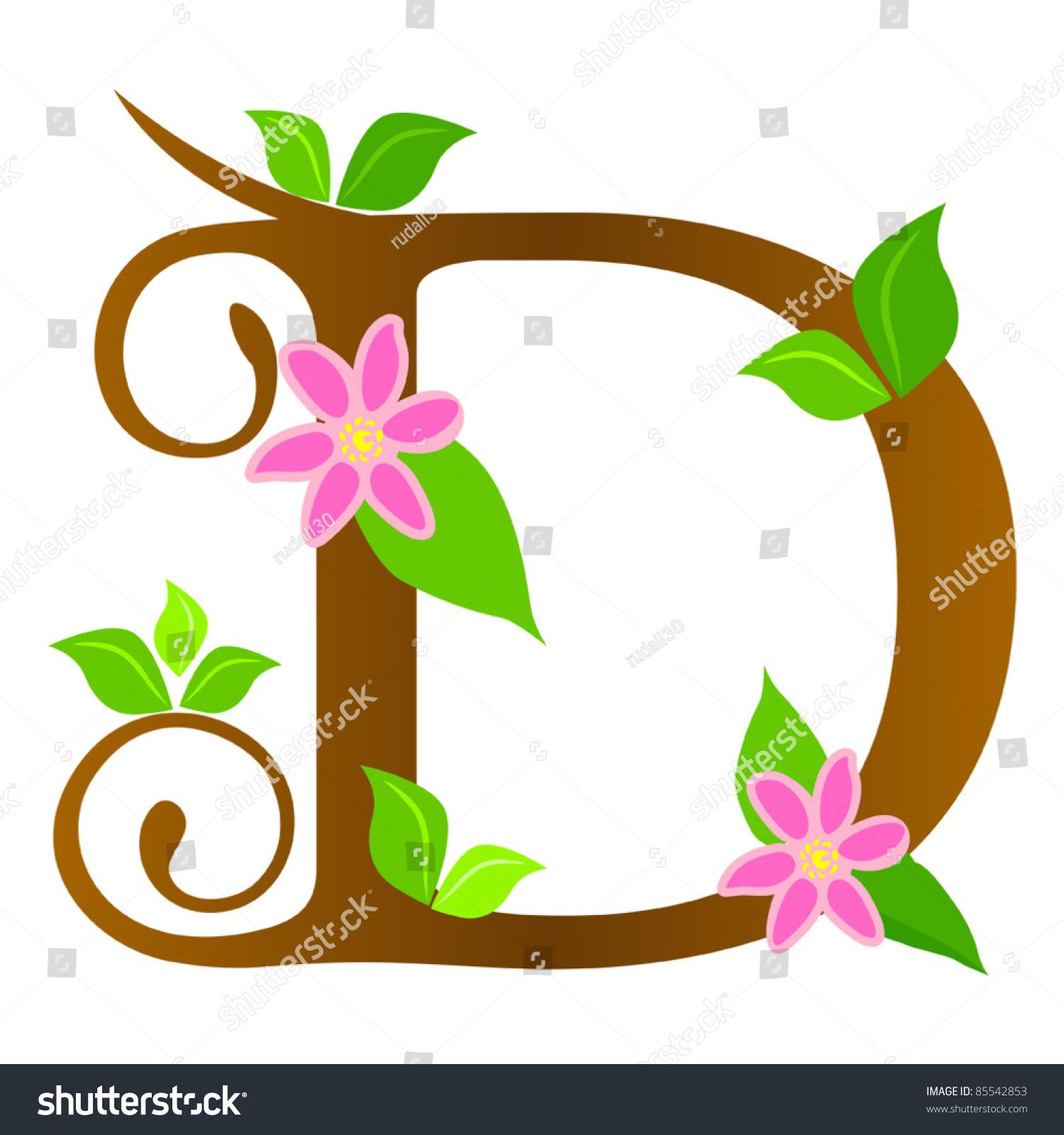 Plants Font Type Letter D Stock Vector 85542853