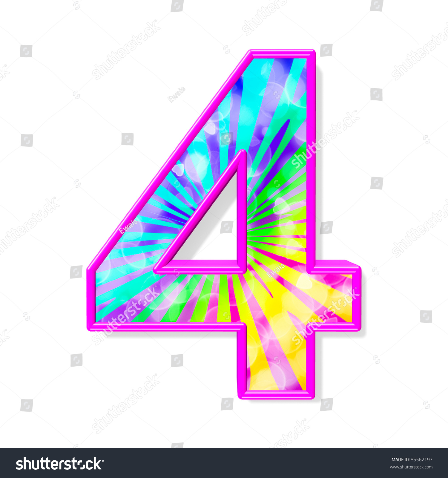 Colorful Alphabet. Number 4 Stock Photo 85562197