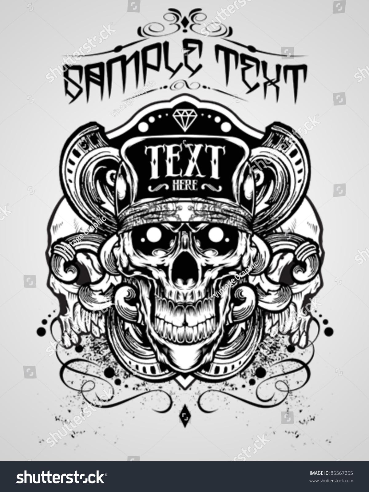 Design t shirt skull - Vector Illustration Skull T Shirt Design Logos Stock Vector