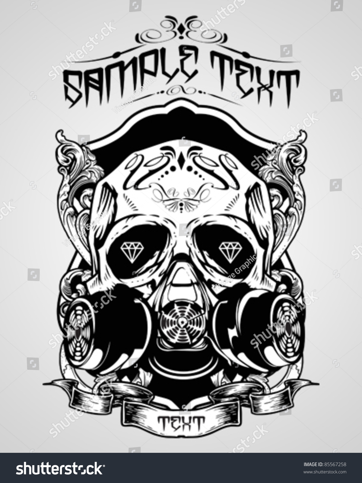 Vector Illustration Skull Tshirt Design Logos Stock Vector