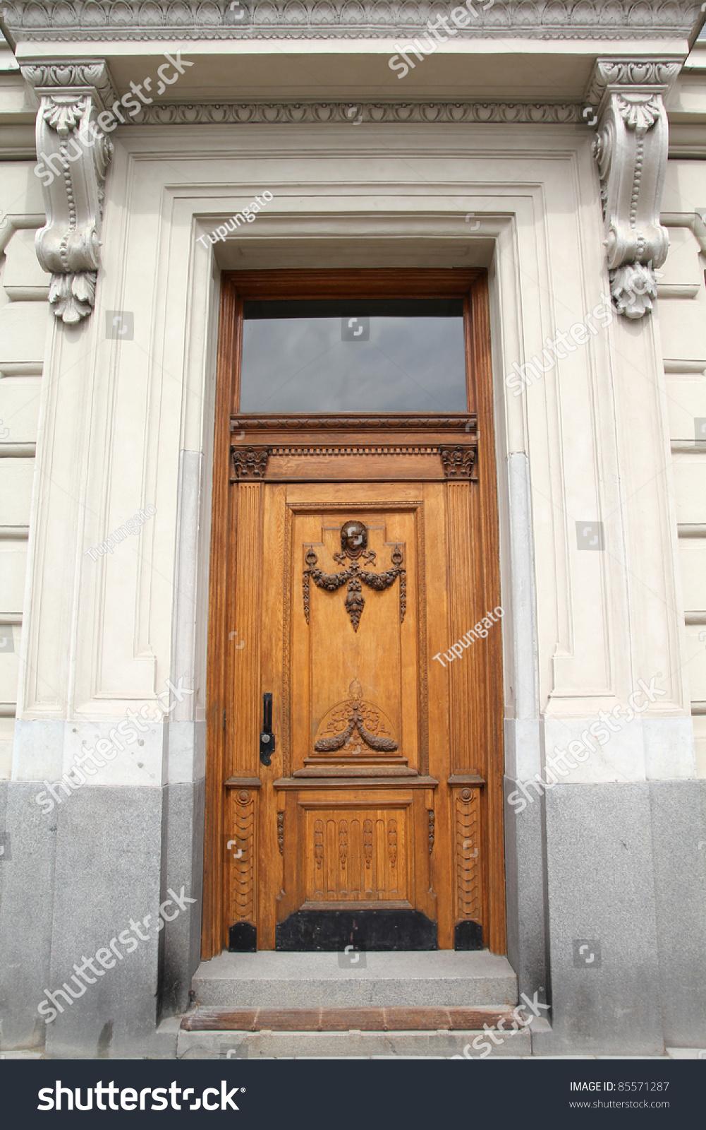 Stockholm sweden beautiful wooden door old stock photo for Beautiful wooden doors picture collection