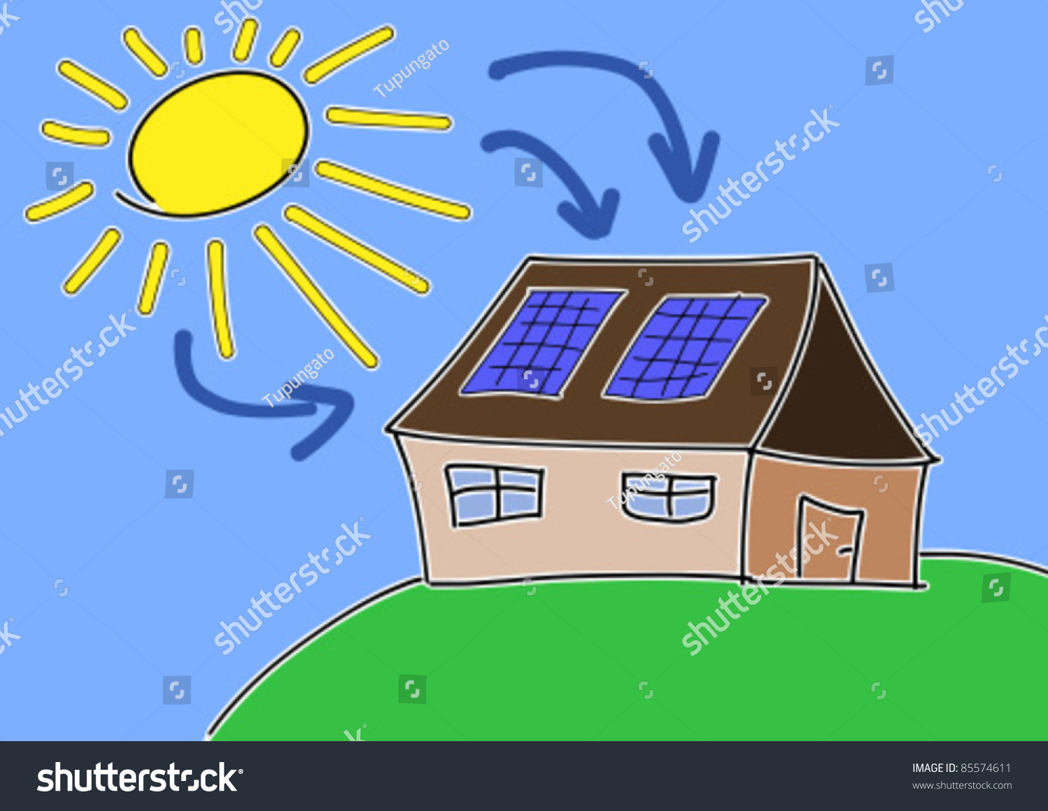 Doodle Drawing Solar Energy Concept Renewable Stock Vector