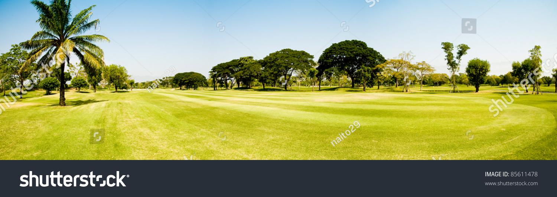 Beautiful Golf Course Panorama Stock Photo 85611478 ...