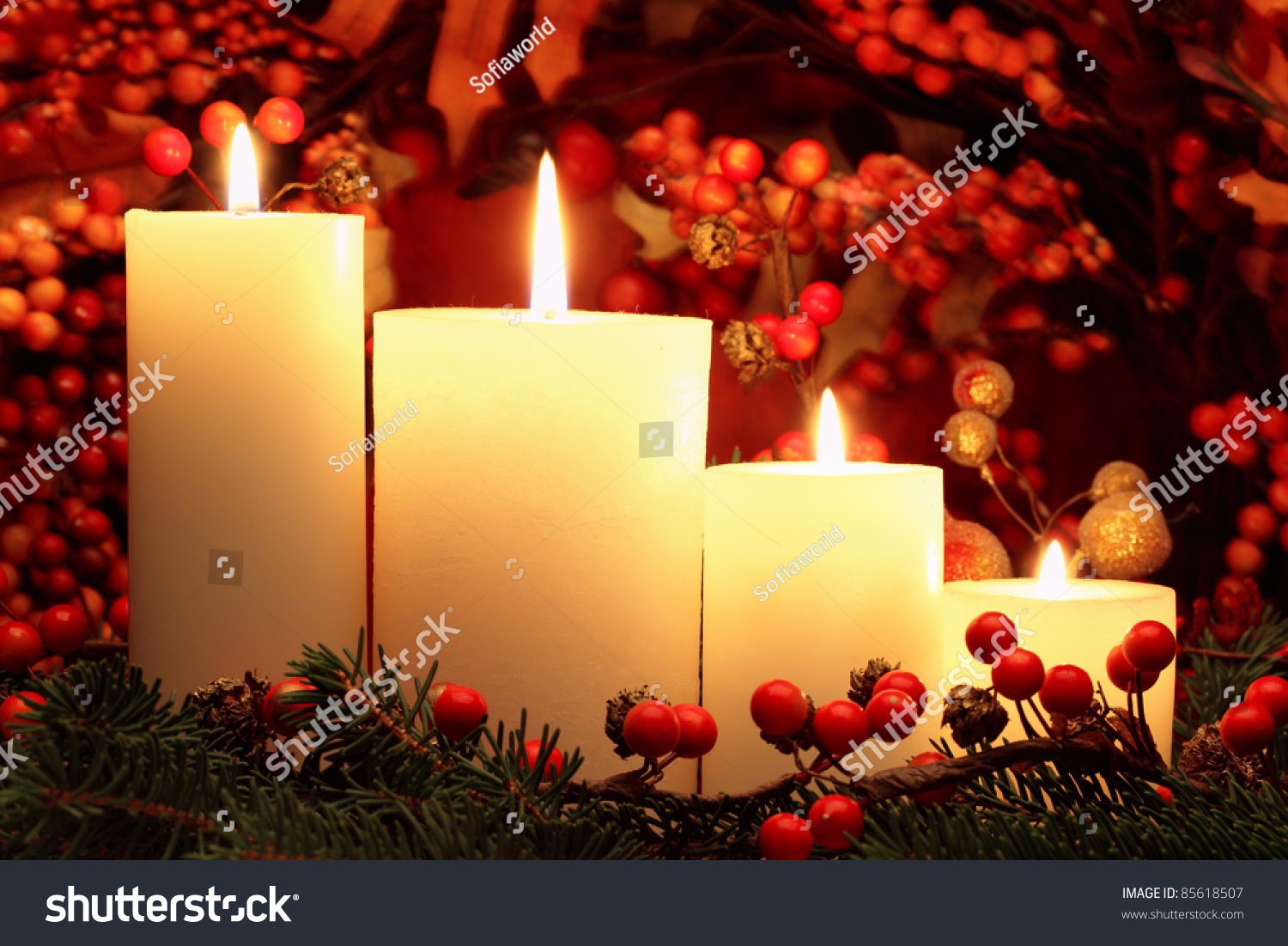 Christmas Candles Stock Photo 85618507 : Shutterstock