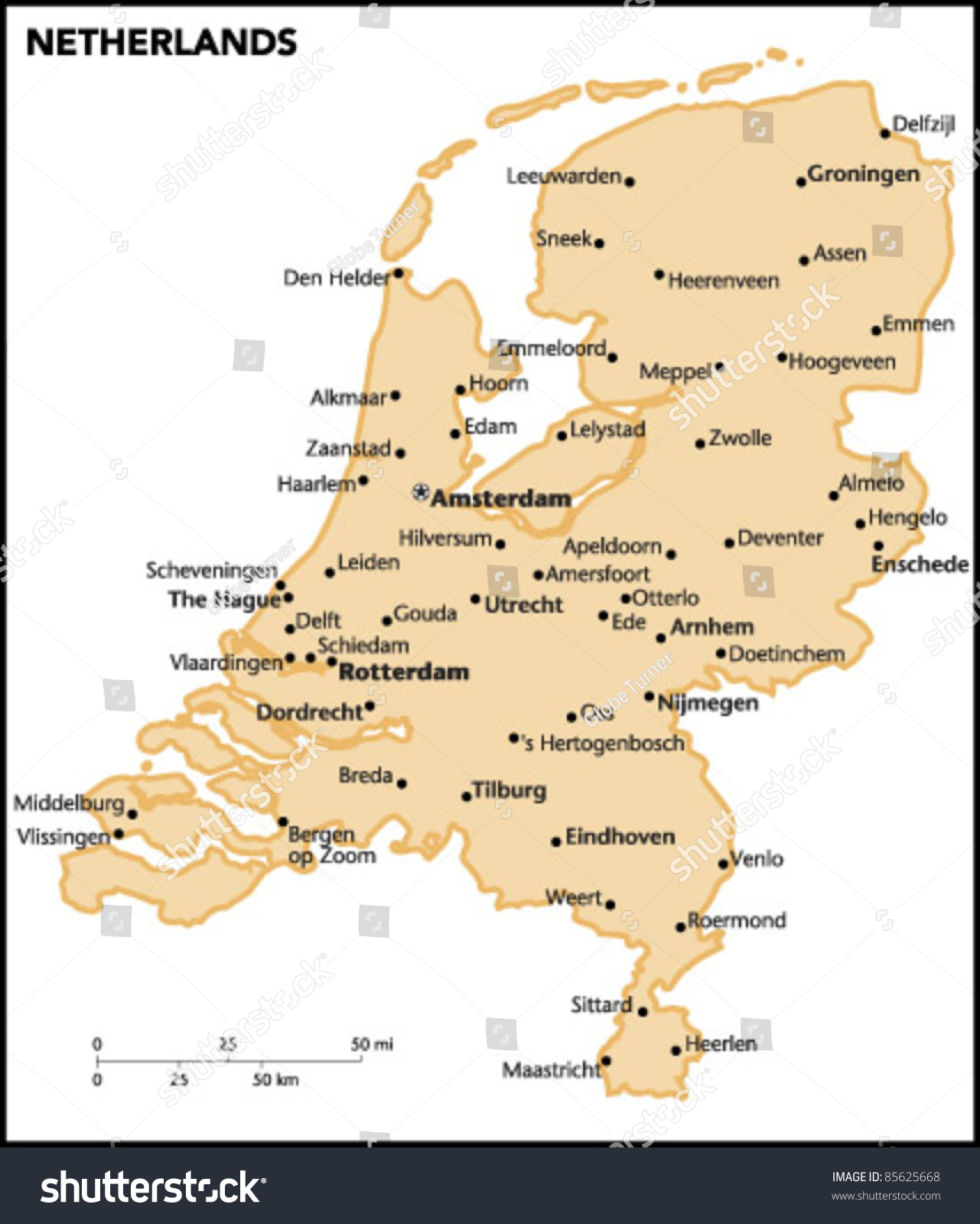 Netherlands Country Map Stock Vector HD Royalty Free 85625668