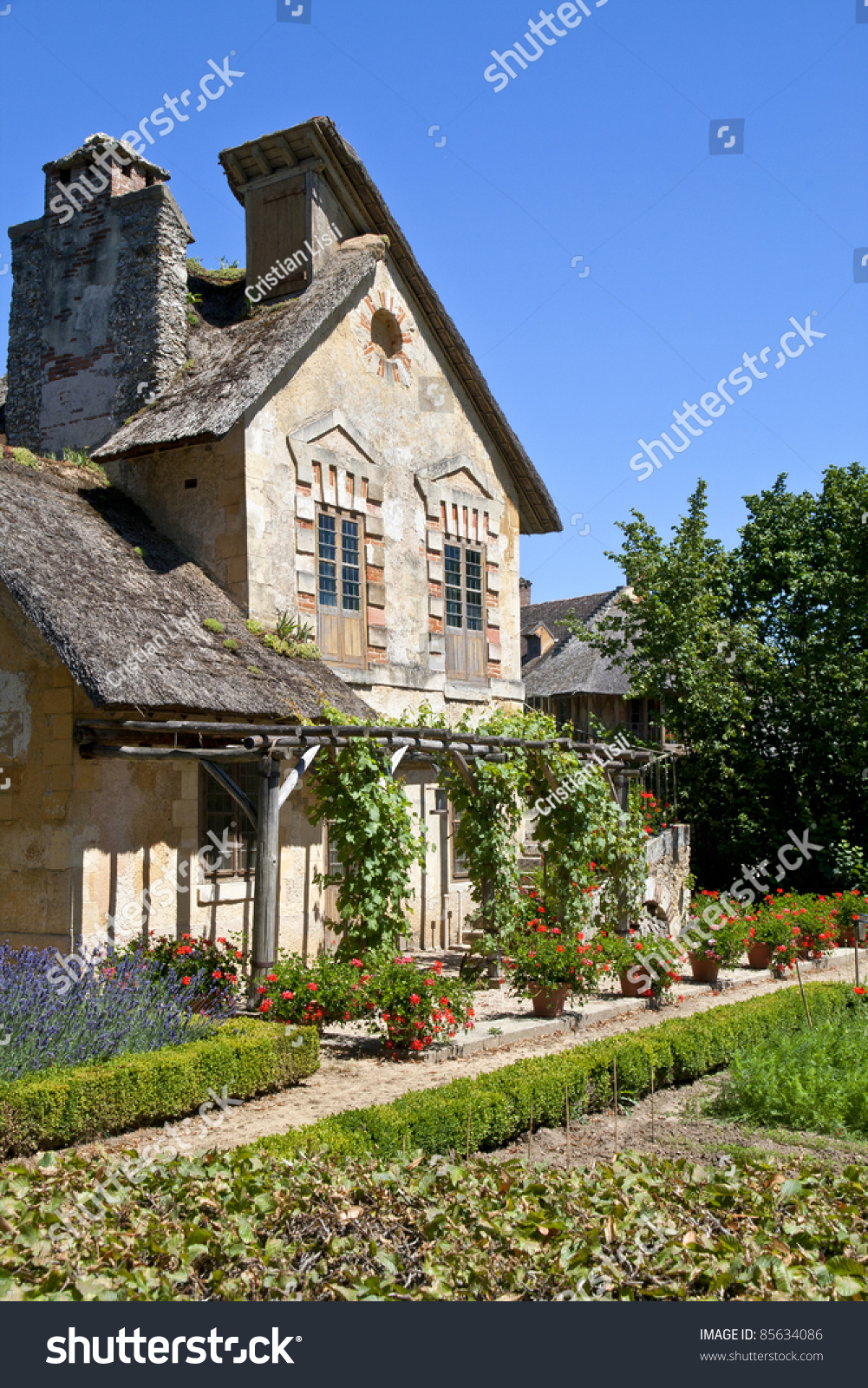 Old traditional house beautiful garden french stock photo for French countryside house