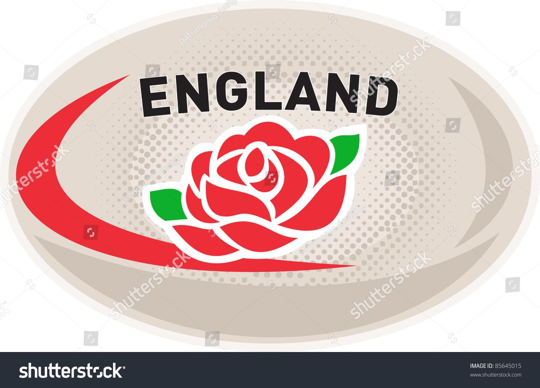 Illustration rugby ball english rose flower stock illustration illustration of a rugby ball with english rose flower and words england on isolated white background buycottarizona