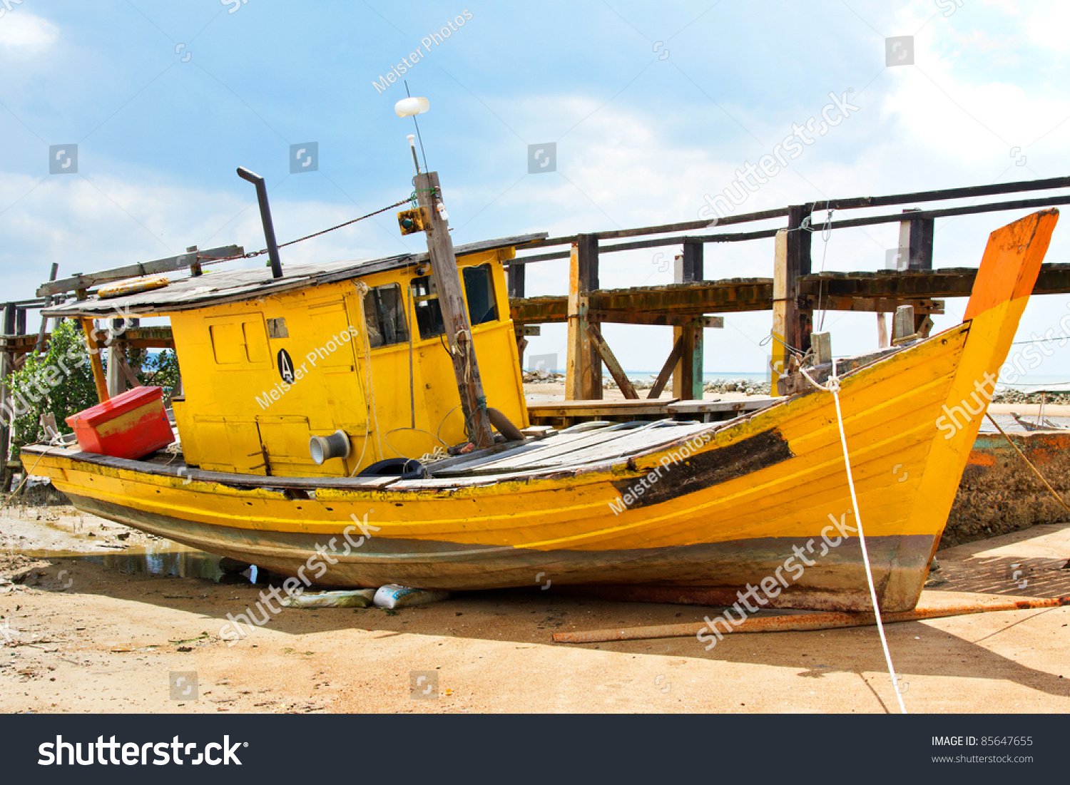 Derelict fishing boat malaysia stock photo 85647655 for Free fishing boats