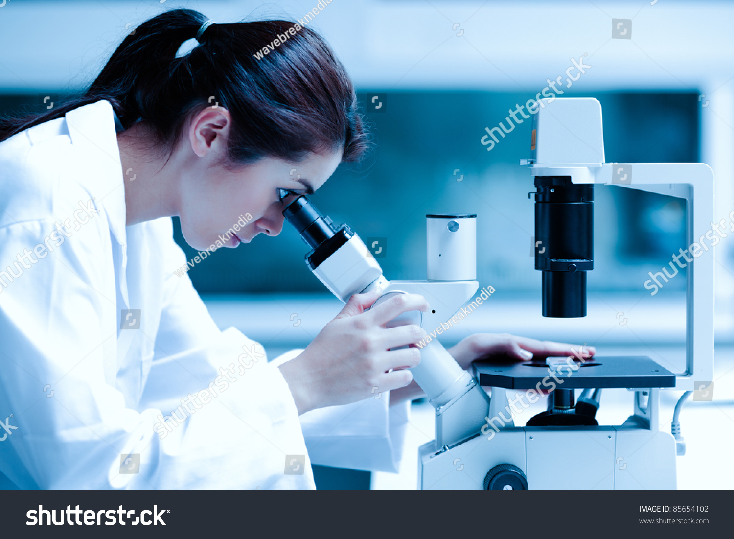 Scientist Using Microscope Laboratory Stock Photo 85654102 ...