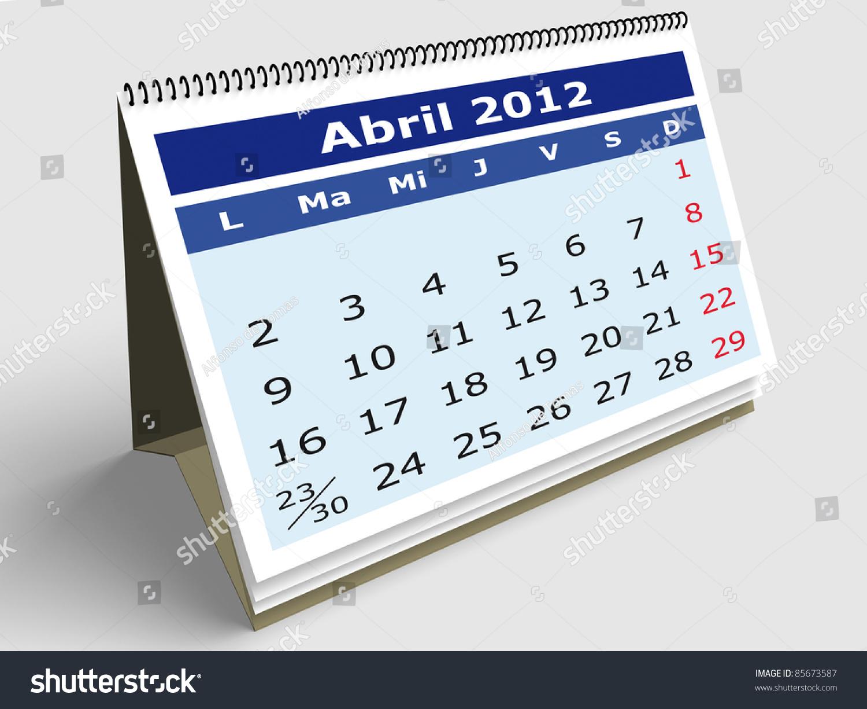 April Calendar In Spanish : April month in spanish calendar d render stock