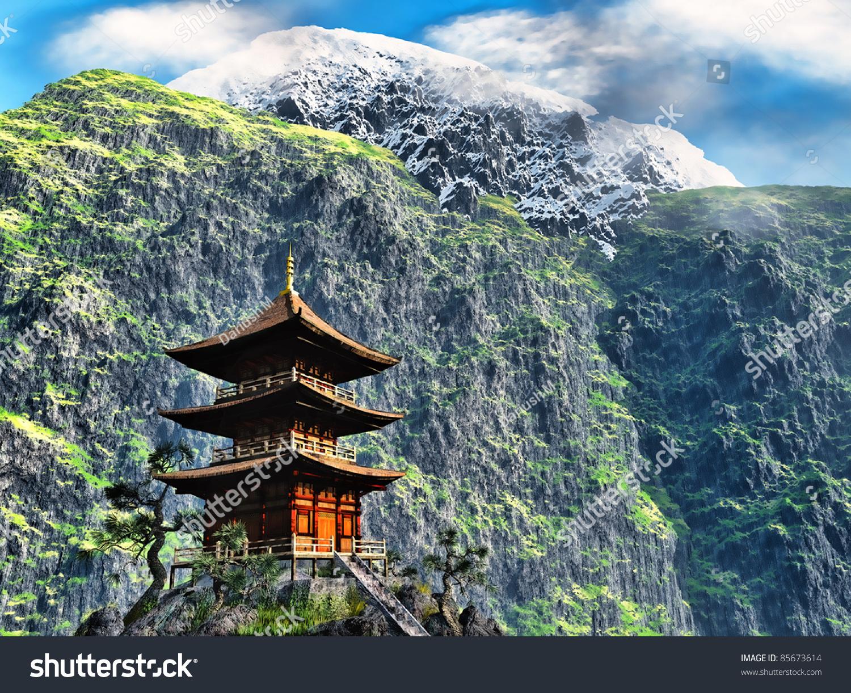 Buddhist Temple Mountains Stock Illustration 85673614 ...