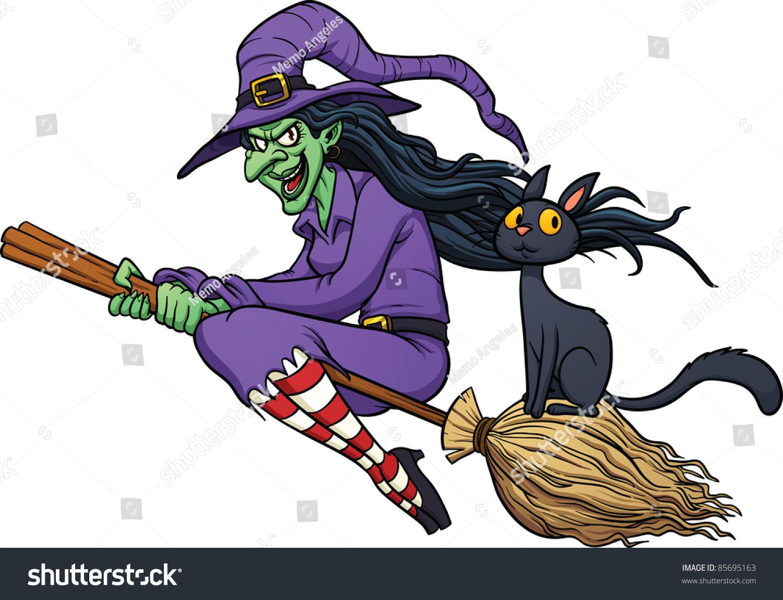 cartoon witch flying on her broom stock vector 85695163 shutterstock