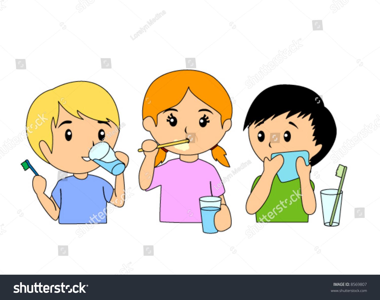 Children Brushing Teeth - Vector - 8569807 : Shutterstock