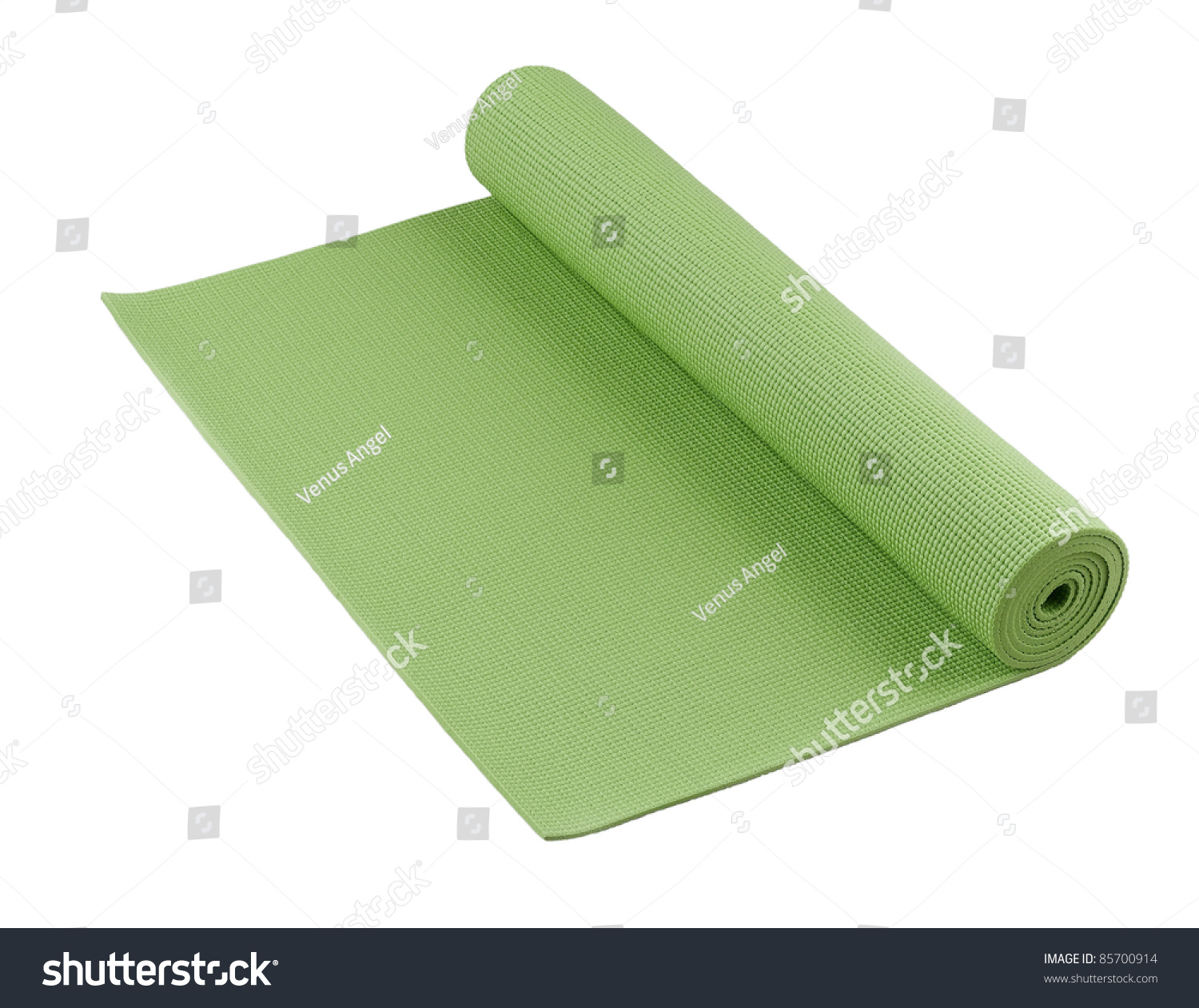 Pilates Mat Workout At Home: Green Yoga Mat Nice For Exercise At Home Or Gym Stock