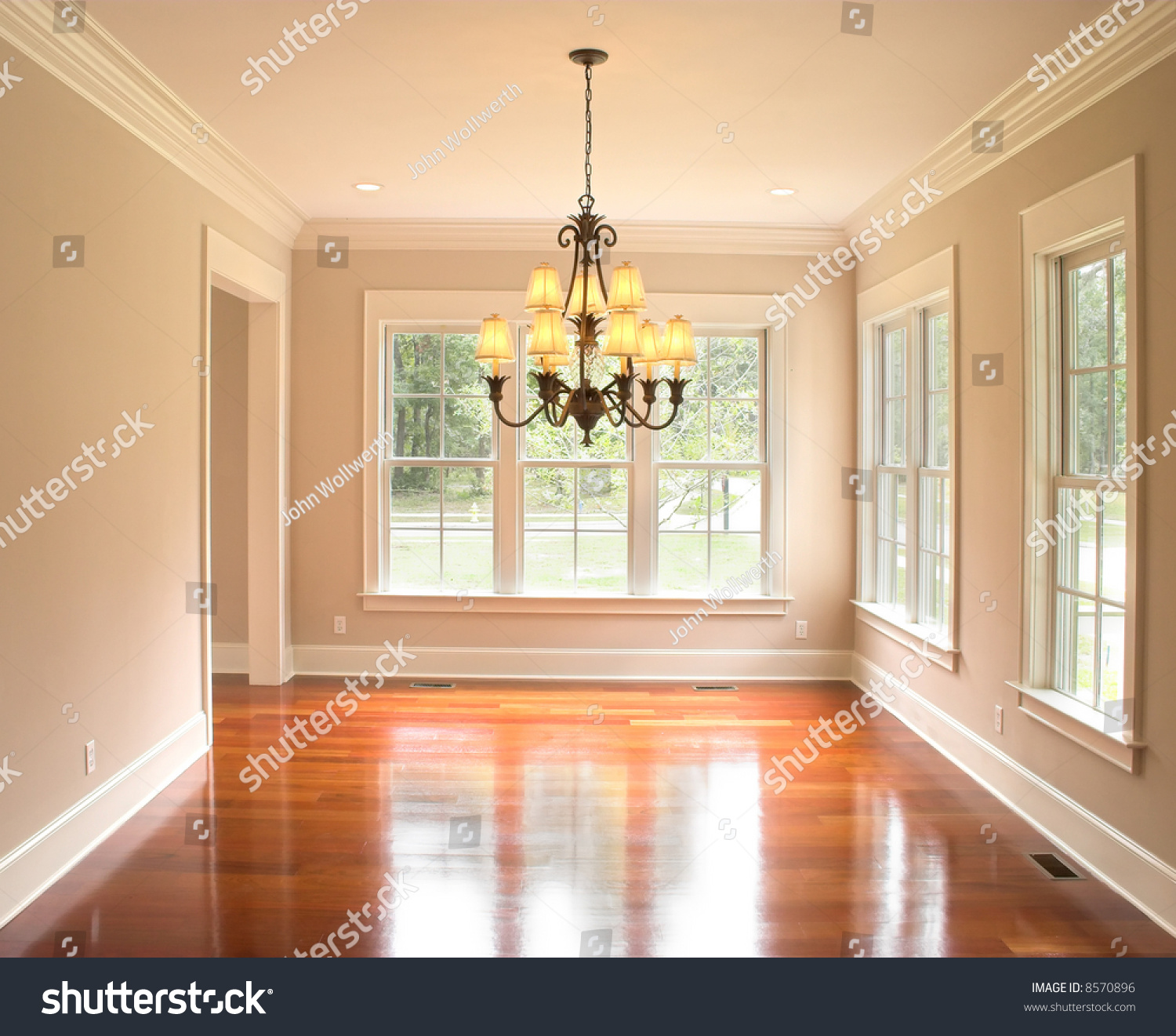 Empty Living Room: Cozy Unfurnished Dining Room Lots Windows Stock Photo