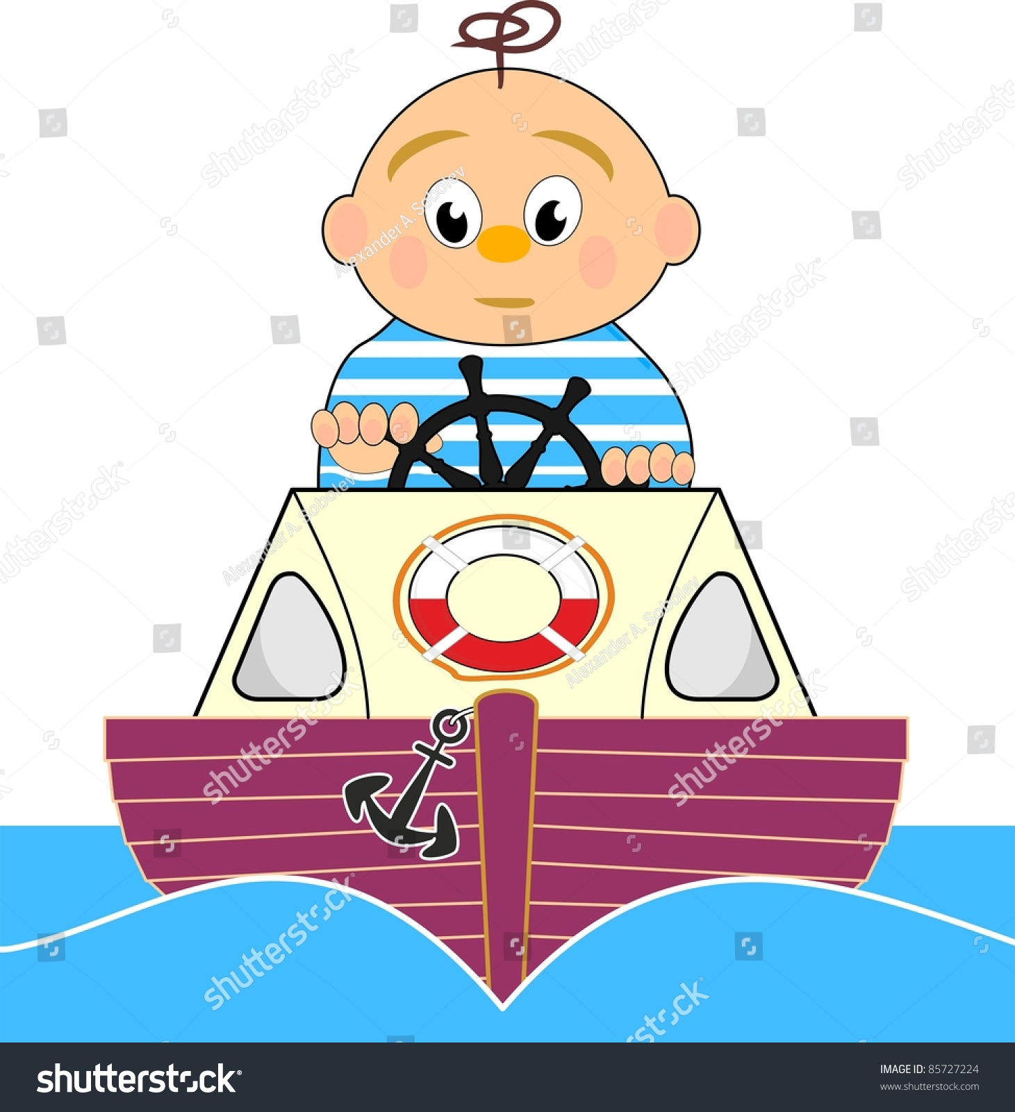 Cartoon Outboard Motors : Lifeguard motor boat sailor boy vector stock