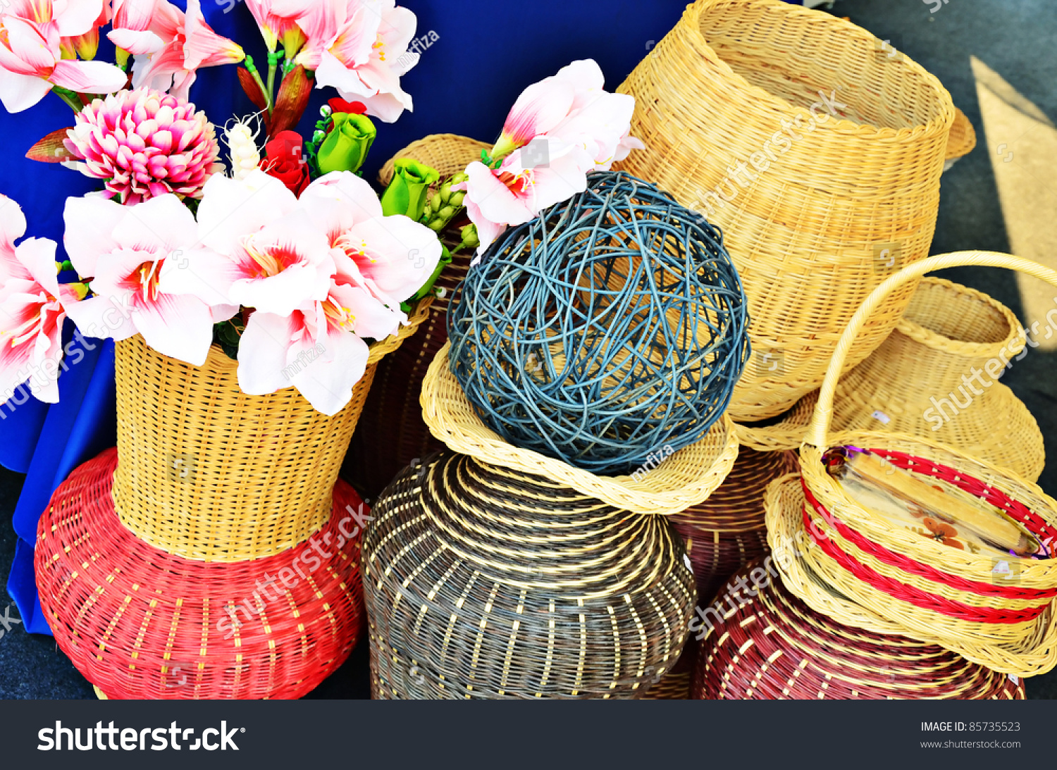 Various Shaped Basket Hand Craft Work For Decoration Stock Photo 85735523 Shutterstock