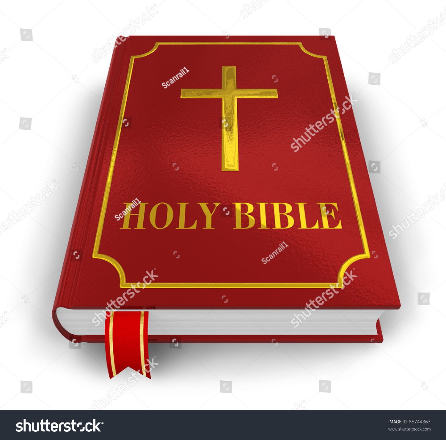 Vintage Leather Look Jeremiah Verse Bible Book Cover Large: Red Holy Bible Isolated On White Stock Illustration