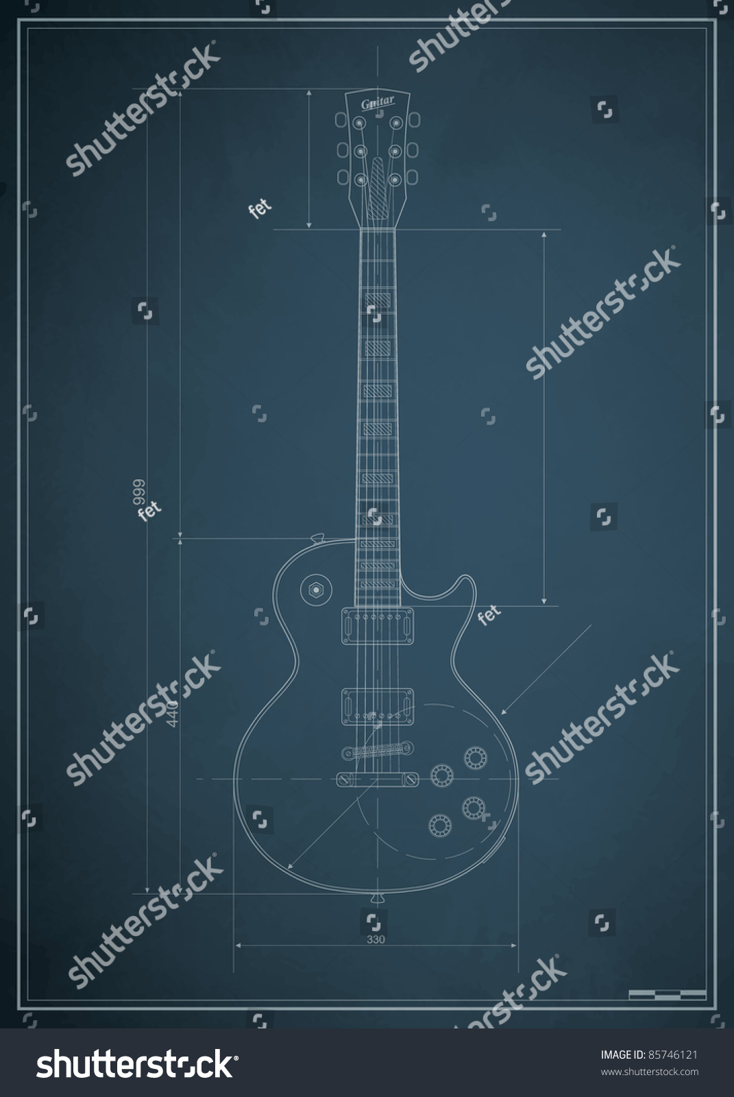 Blueprint Electric Guitar Dimensions On Paper Stock Vector 85746121 ...