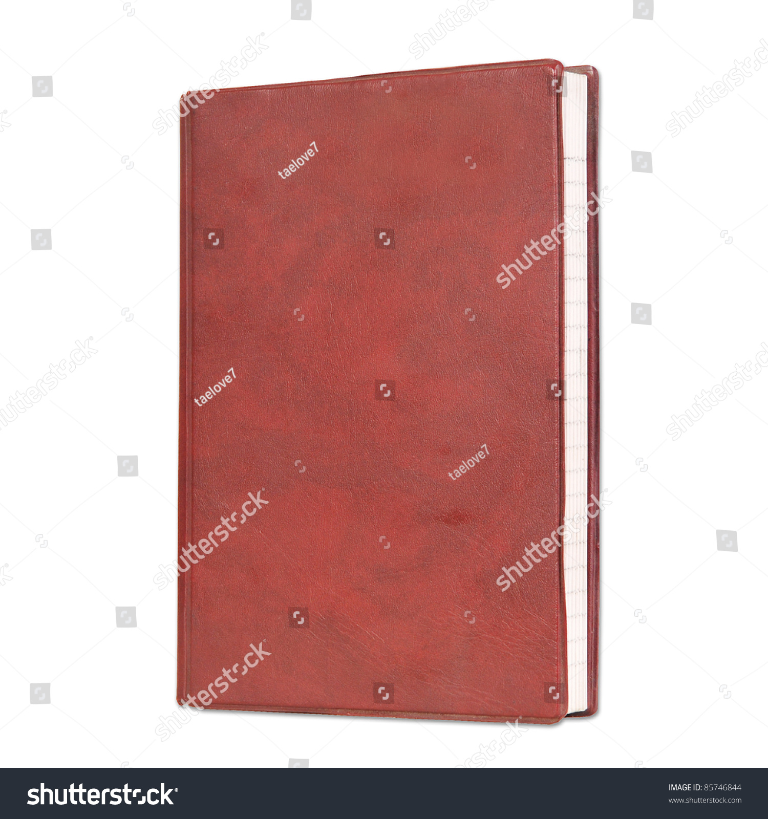 Book Cover Background Color : Blank book with red color cover on white background stock