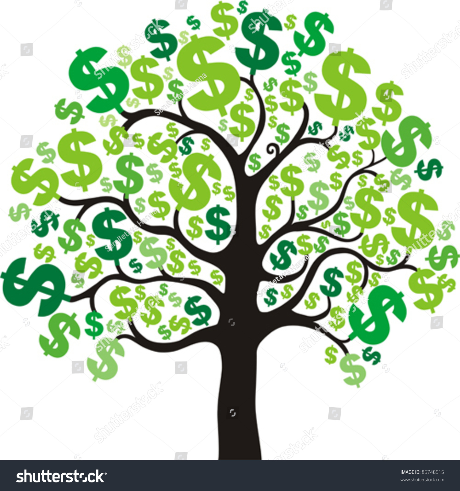 Money Tree Isolated On White Background Stock Vector 85748515 ...